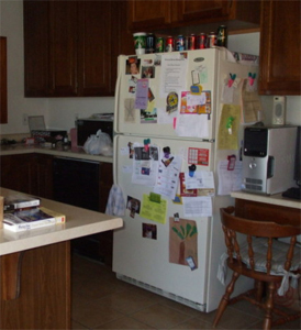 Staging your refrigerator should start with getting rid of all the magnets plastered all over it.